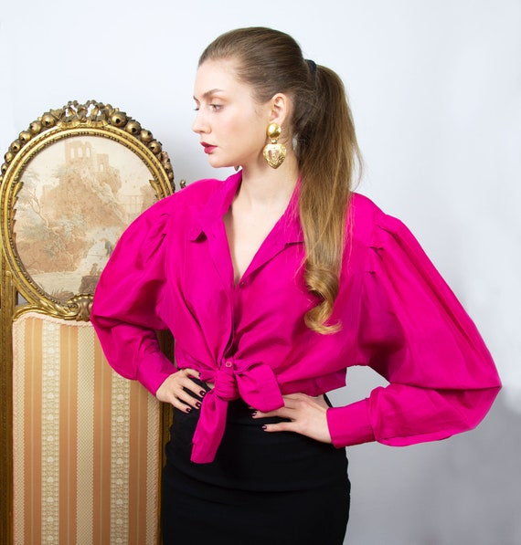Vintage Pink Silk Blouse, Oversized Fuchsia Long S