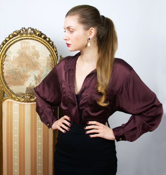 Vintage Burgundy Silk Blouse, Oversized Brown Long