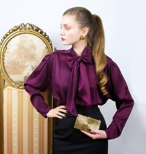 Vintage Silk Pussy Bow Blouse, Purple Silk Shirt,
