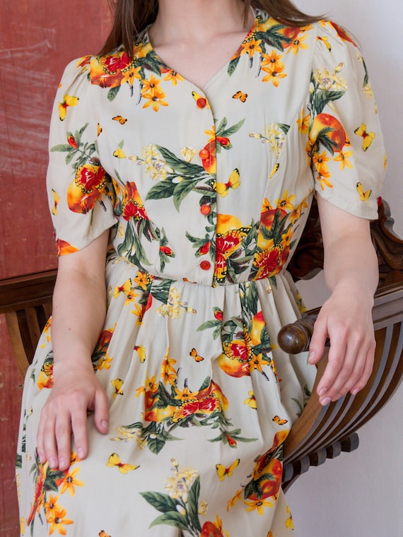 Vintage Floral Dress, Short Sleeve Summer Dress - image 2