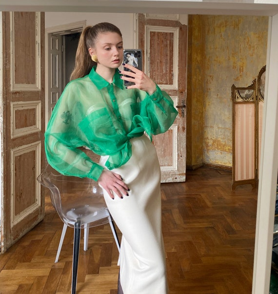 Vintage Green Sheer Blouse, Organza Shirt