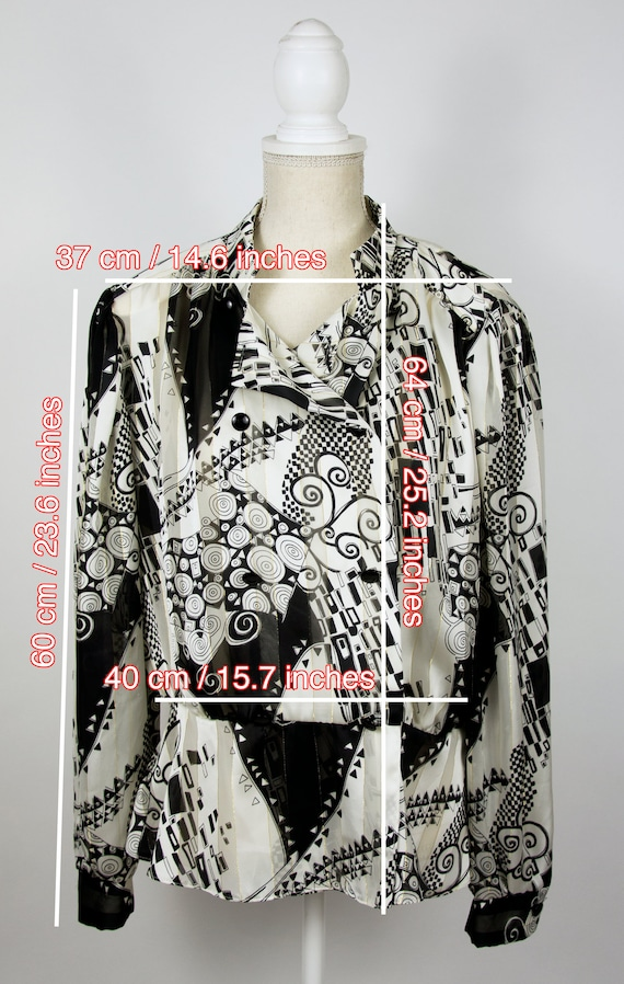 Vintage Abstract Blouse | Statement Blouse | 80's… - image 7