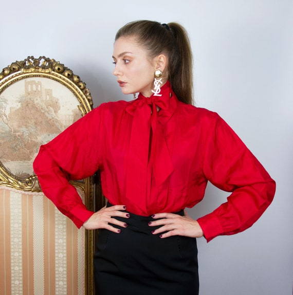 Vintage Silk Pussy Bow Blouse, Long Sleeve Secreta