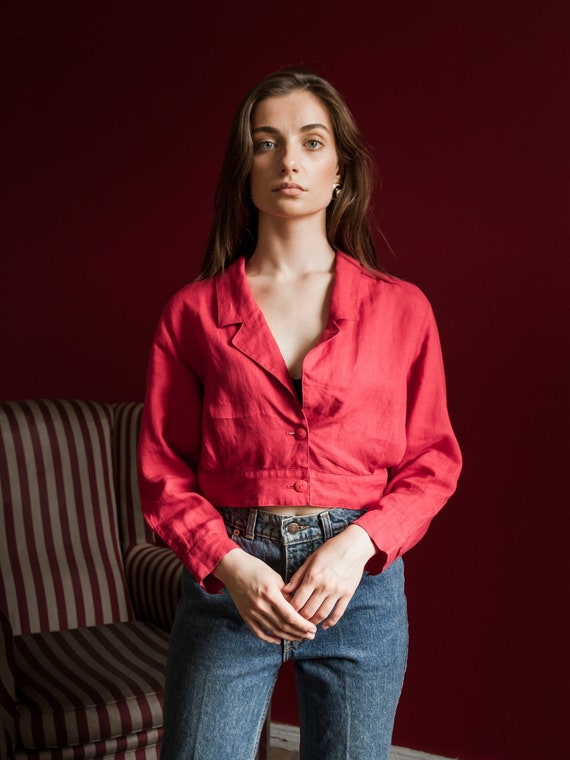 Vintage CHLOÉ Crop Blazer, Red Crop Jacket