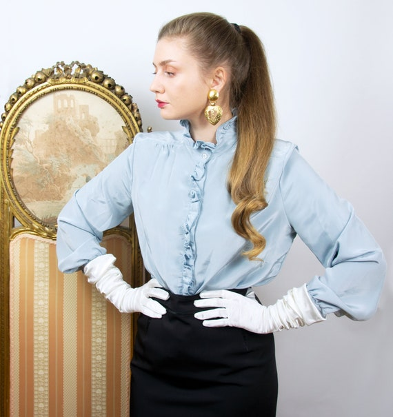 Vintage Blue Ruffle Blouse, High Neck Long Sleeve