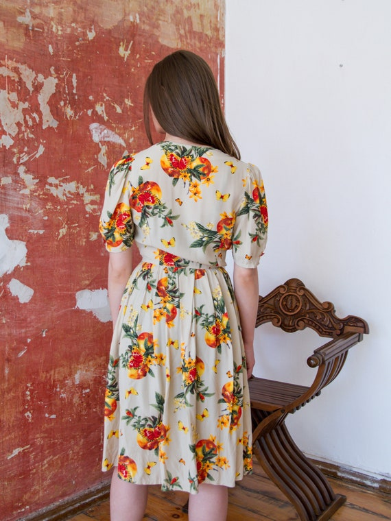 Vintage Floral Dress, Short Sleeve Summer Dress - image 5
