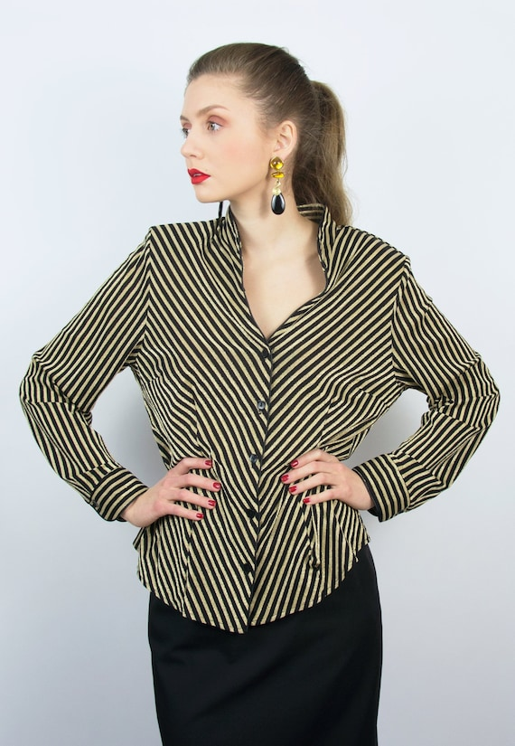Vintage Black Gold Blouse | Gold Stripe Shirt | St