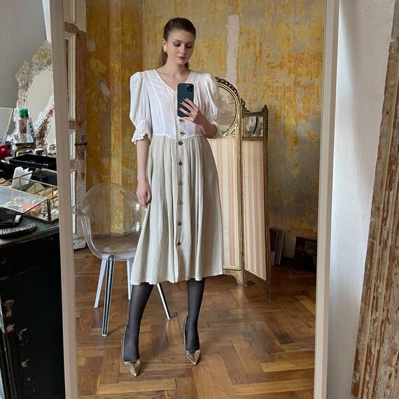 Vintage Linen Austrian Dress, Cottagecore dress w… - image 2