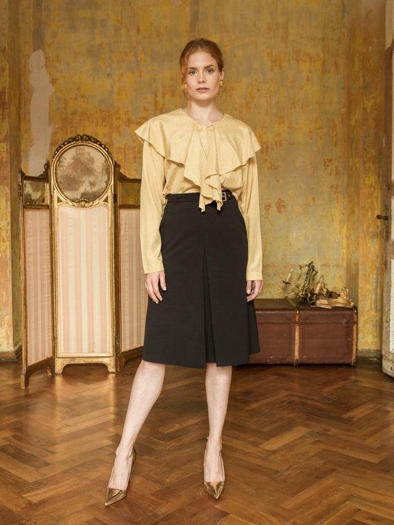 Vintage Silk Blouse, Mustard Long Sleeve Sailor Co