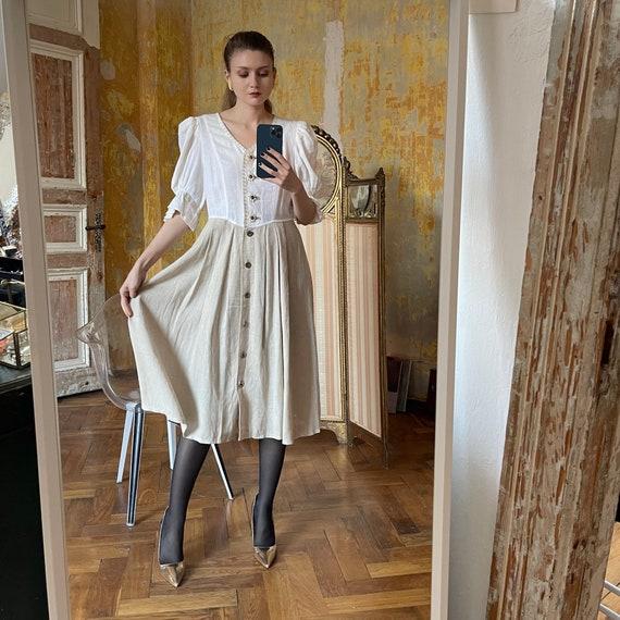 Vintage Linen Austrian Dress, Cottagecore dress w… - image 3