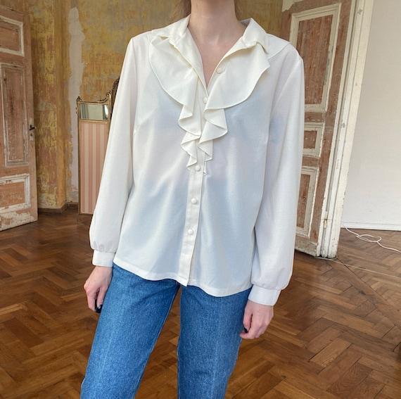 Vintage White Ruffle Blouse, Victorian Blouse - image 3