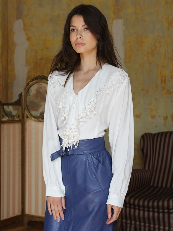 Vintage White Ruffle Blouse, Victorian Style Top - image 3