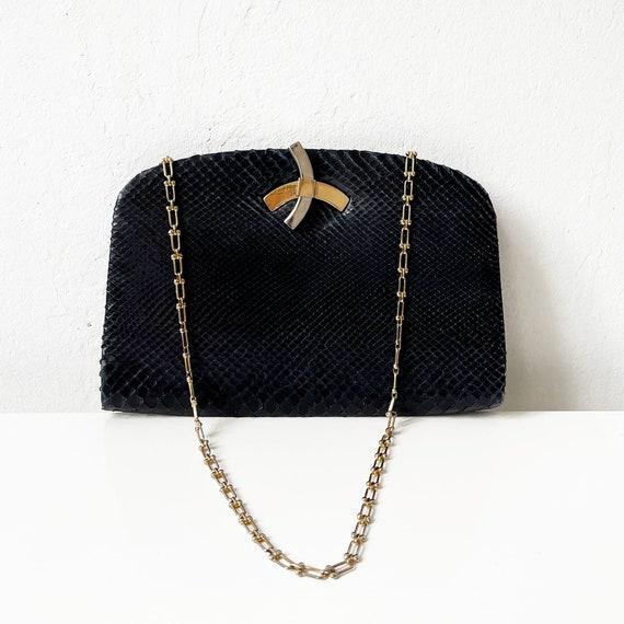 Vintage Black Snakeskin Purse - image 2