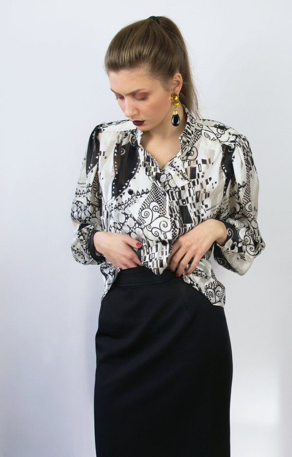 Vintage Abstract Blouse | Statement Blouse | 80's… - image 2