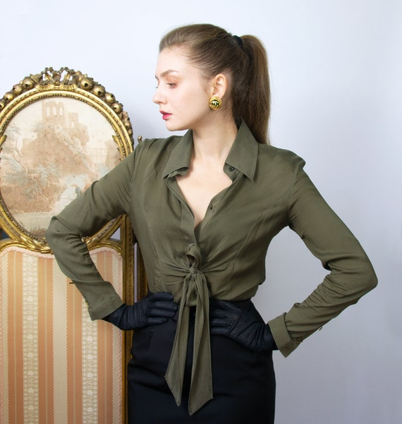 Vintage Silk ESCADA blouse, Khaki Long Sleeve Top,