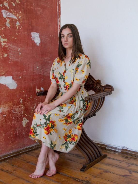 Vintage Floral Dress, Short Sleeve Summer Dress - image 1