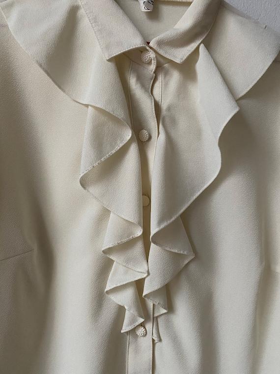 Vintage White Ruffle Blouse, Victorian Blouse - image 5