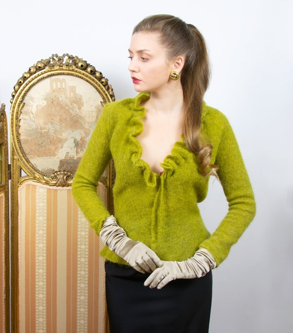 Vintage Olive Merino Wool Sweater, Mohair Plunging
