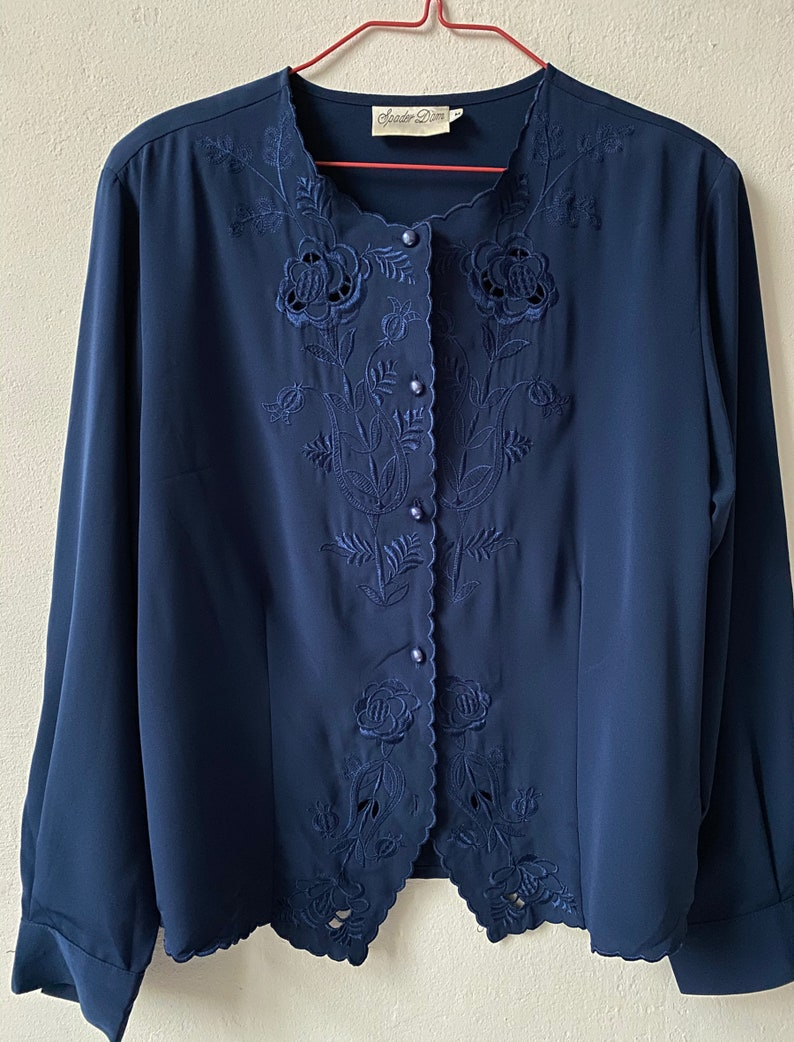 Vintage 80s Navy Blue Satin Blouse with Embroidery