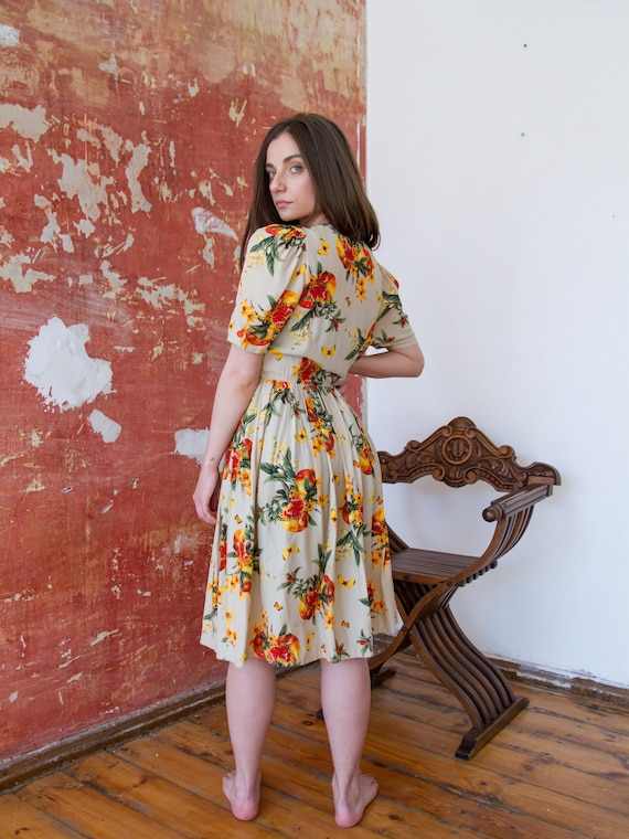Vintage Floral Dress, Short Sleeve Summer Dress - image 3