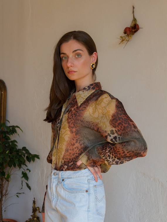Vintage Printed Sheer Blouse, Leopard Chiffon Butt