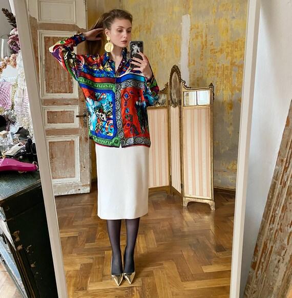 1991 GIANNI VERSACE silk blouse, Versace shirt