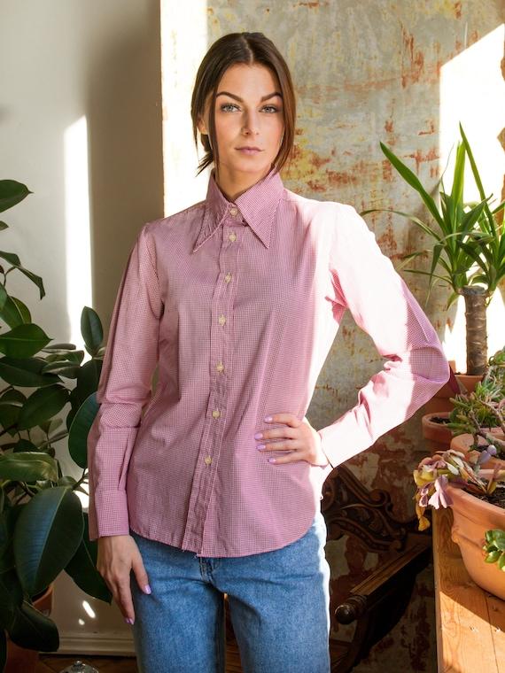Vintage Plaid Shirt, Casual Cotton Checkered Blous