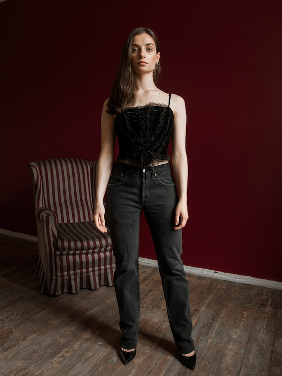 Vintage Velvet Top, Black Velvet Sleeveless Corset