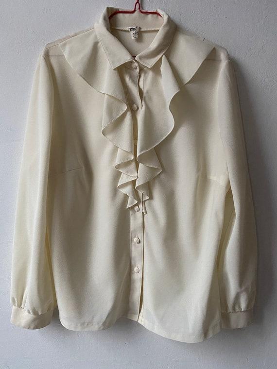 Vintage White Ruffle Blouse, Victorian Blouse - image 4