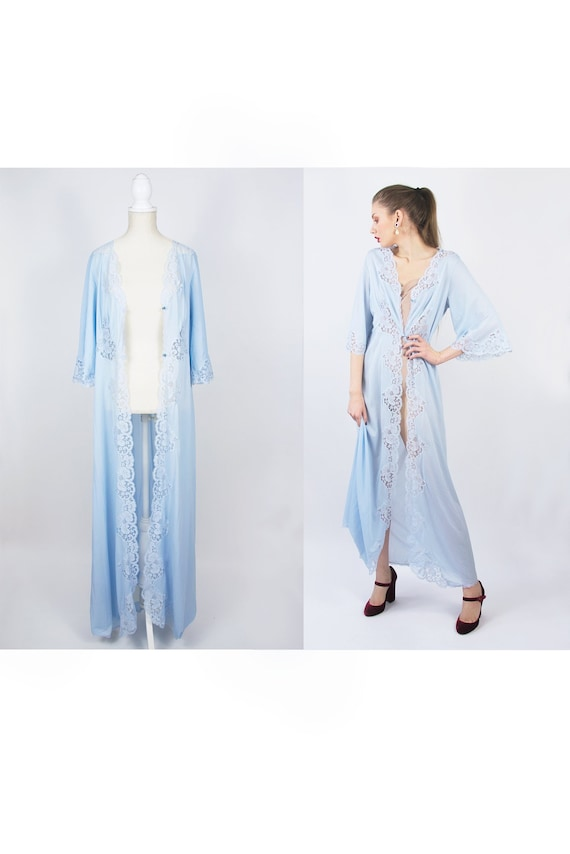 Vintage Peignoir | Nylon Nightgown | Blue Peignoir
