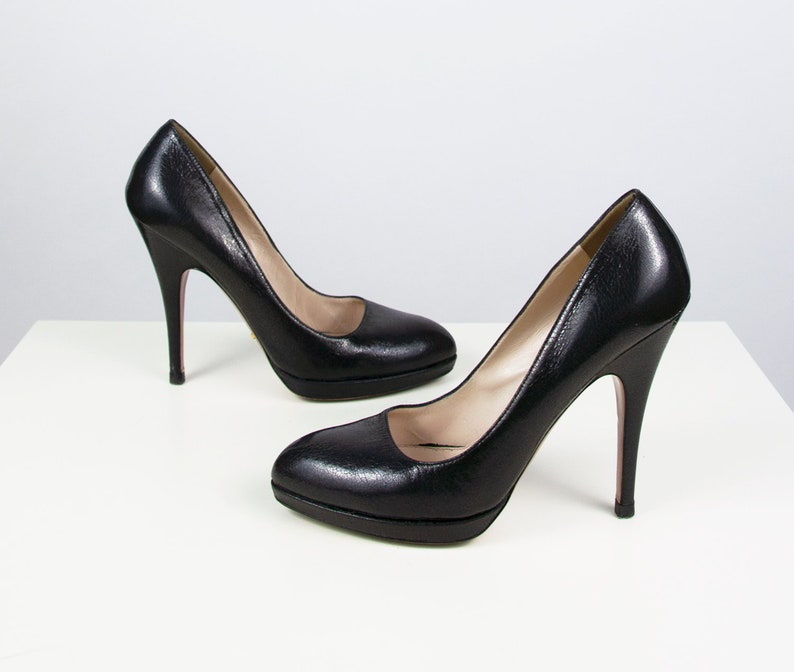 b62de8ad4b141 PRADA Shoes | Vintage Prada High Heels Black Leather Pumps Designer shoes  Stiletto Heels Classic black shoes Designer Vintage