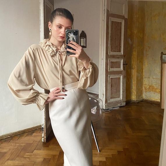 Vintage Beige Ruffle Blouse, Cream white blouse wi