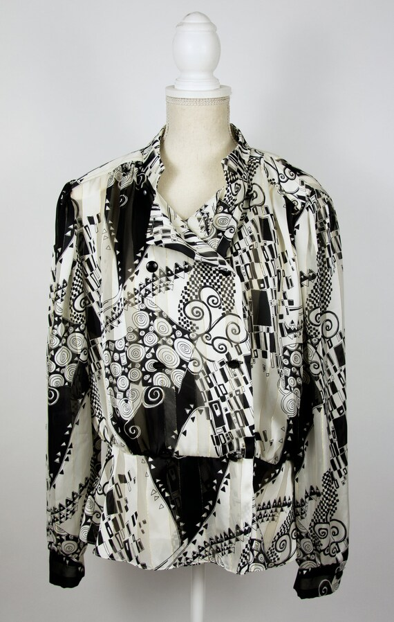 Vintage Abstract Blouse | Statement Blouse | 80's… - image 3