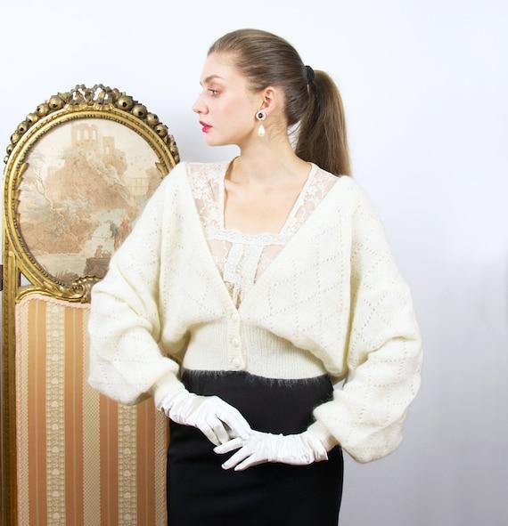 Vintage White Mohair Sweater, Angora Puff Sleeve C