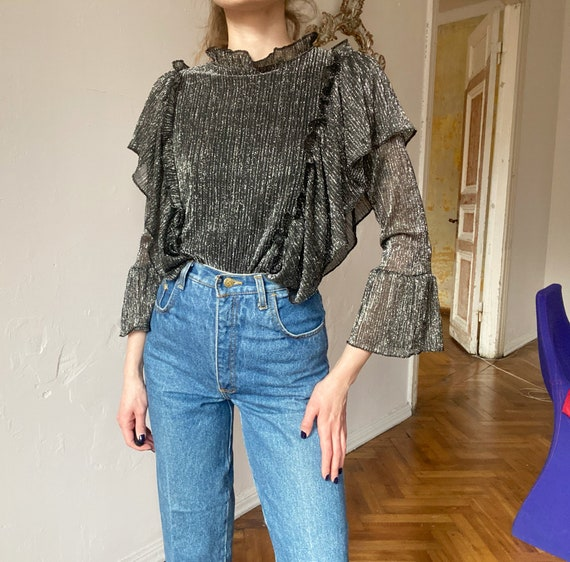 Vintage Silver Blouse with Ruffles