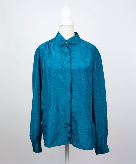 Vintage Blue Blouse   Turquoise Statement Blouse … - image 3