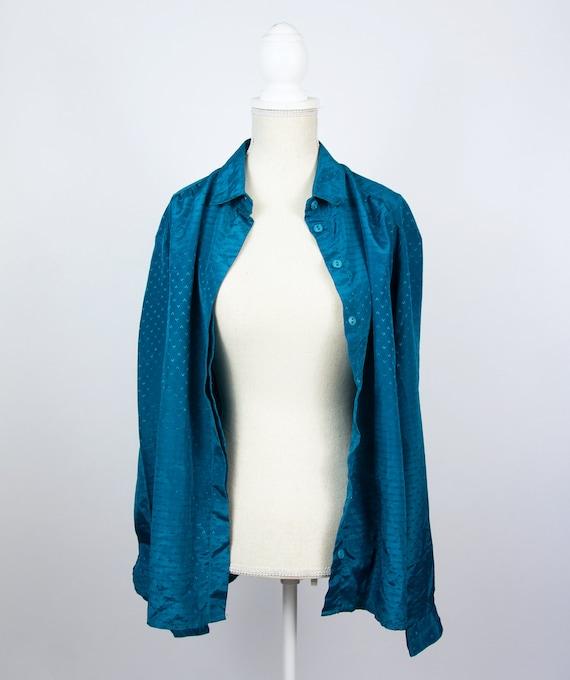 Vintage Blue Blouse   Turquoise Statement Blouse … - image 7