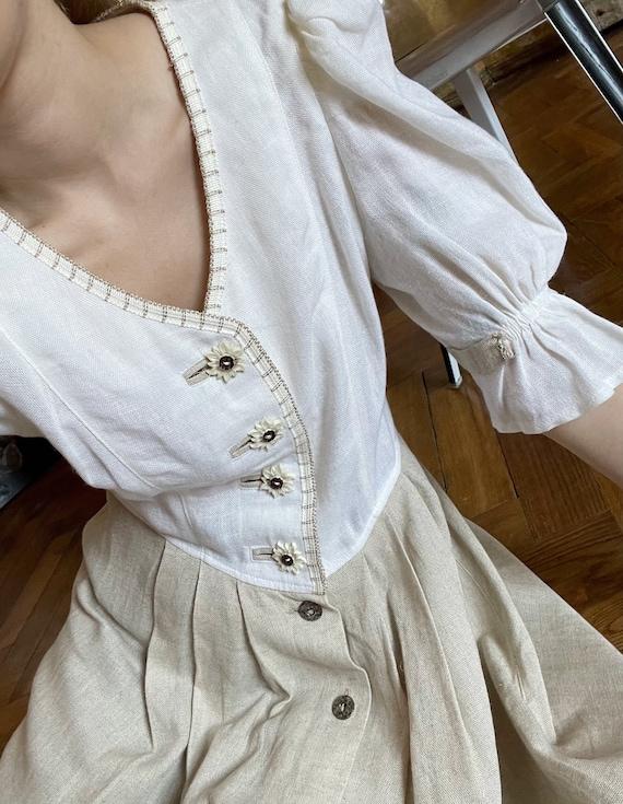 Vintage Linen Austrian Dress, Cottagecore dress w… - image 4