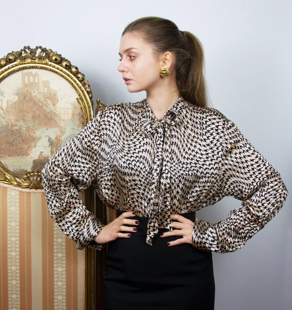 Vintage Silk Pussy Bow Blouse, Houndstooth Long Sl
