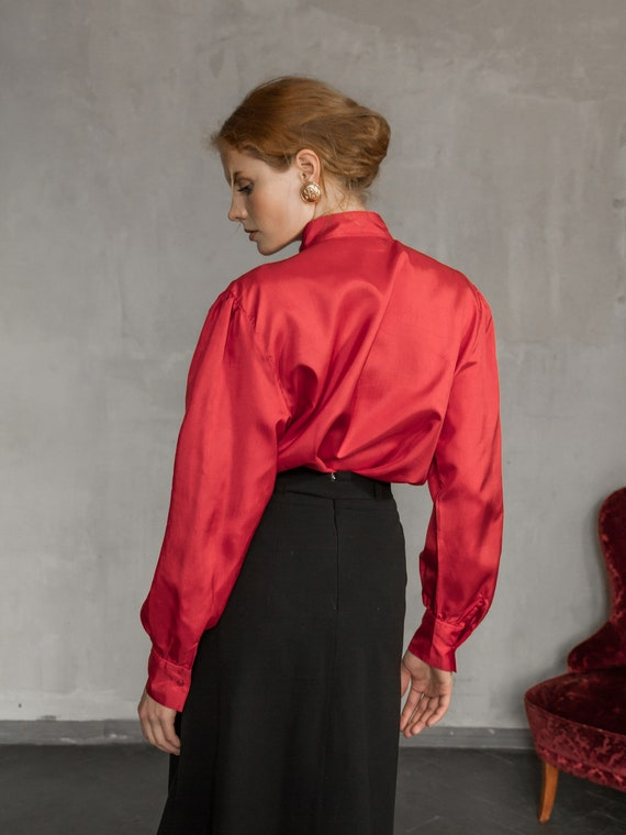 Vintage Red Blouse, Long Sleeve Satin Shirt