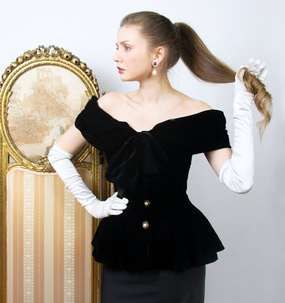 Vintage Velvet Blouse, Boned Bodice Top, Fitted Bl