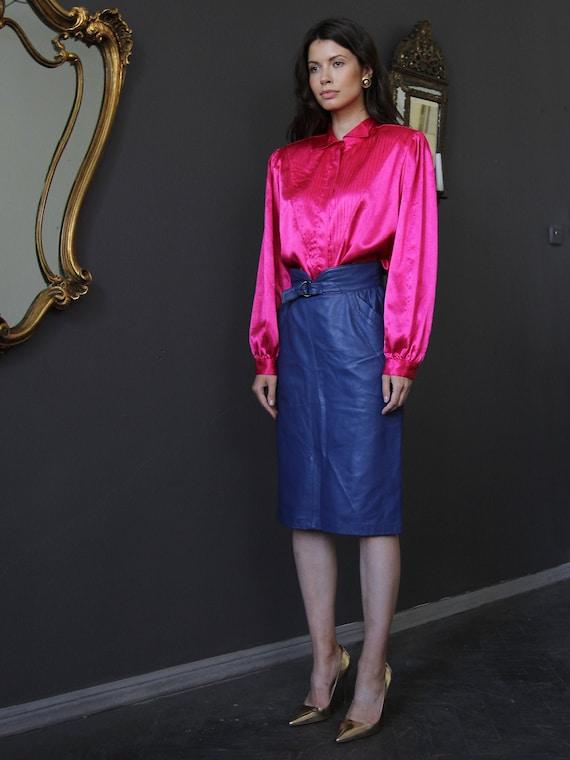 Vintage Satin Blouse, Pink Silky Long Sleeve Shirt