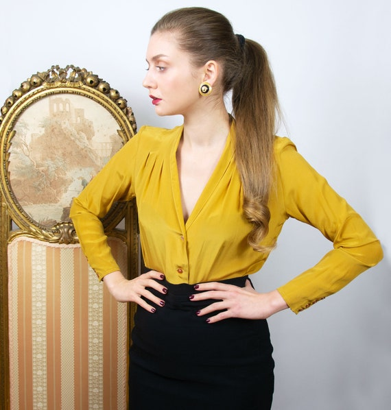 Vintage Mustard Silk Blouse, Yellow Silk Blouse, L