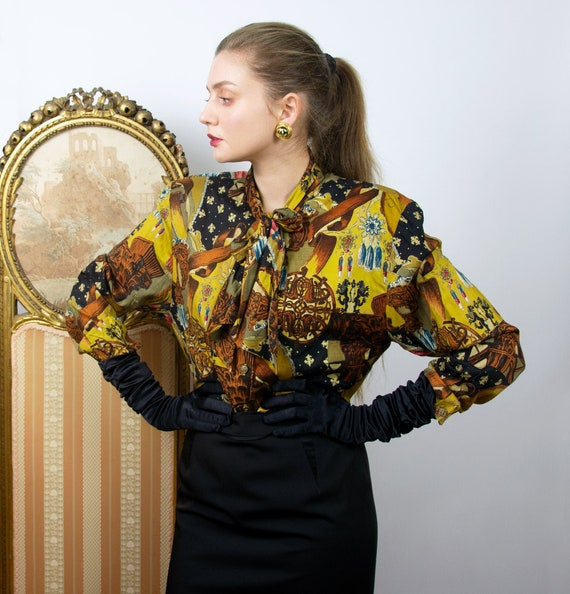 Vintage Pussy Bow Blouse, Baroque Print Blouse, Pa