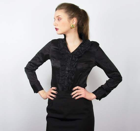 Vintage Black Blouse | Black Ruffle Blouse Elegant
