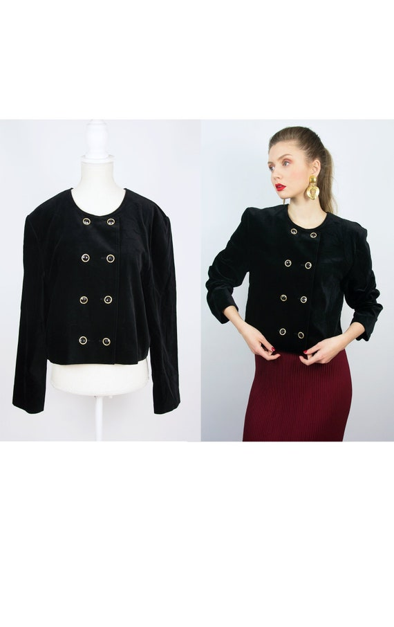 Vintage Black Velvet Blazer | Double Breast Blazer