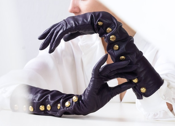 Vintage CHANEL Gloves, Long Leather Gloves