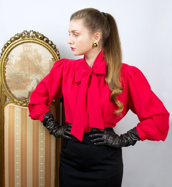 Vintage Red Pussy Bow Blouse, Puff Sleeve Blouse,