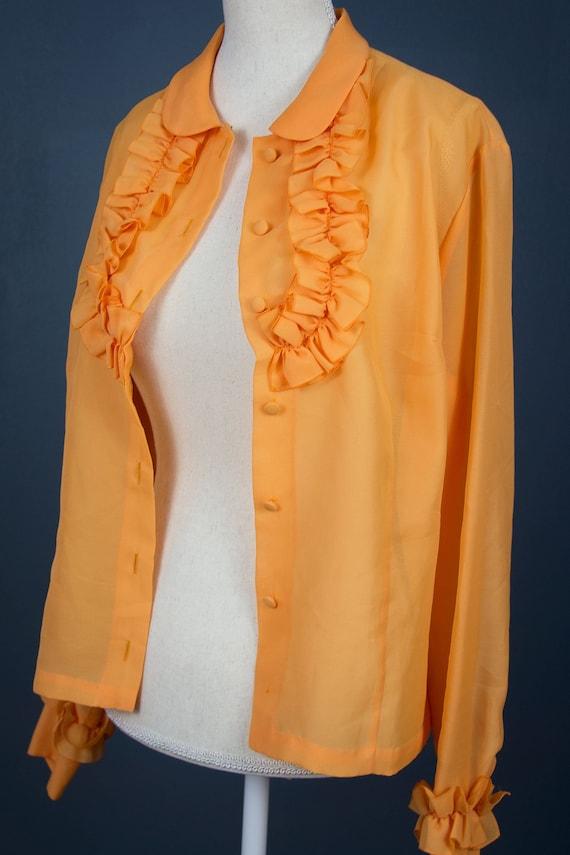 Vintage Ruffle Blouse   80s Statement Blouse Ruff… - image 5