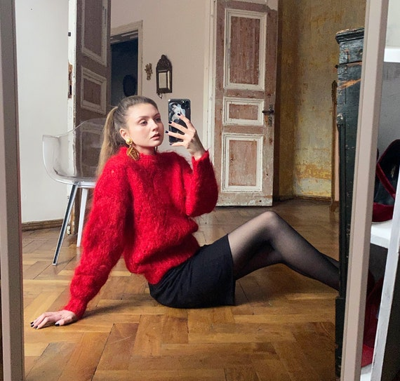 Vintage Red Mohair Sweater, 80s Wool Sweater